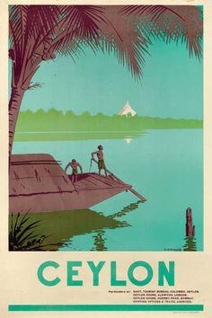 Ceylon - 1938 - (fernando) - posterizor in 2019 плакат, шри-ланка, ретро. Sri Lanka, Minimal Travel, Retro Poster, Poster Vintage, Tourist Board, Tourism Poster, Railway Posters, Pakistan, Travel Design