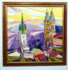 Nový obraz :-) Nad mestom, 58 x 58 cm, akryl na plátne, www.turzak-art.sk, #nitra #obrazynitry #turzakart Painting, Art, Craft Art, Paintings, Kunst, Gcse Art, Draw, Drawings, Art Education Resources
