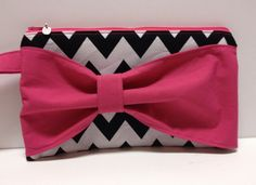 Bow Wristlet with black and white chevron material and pink bow by Brea Boutique