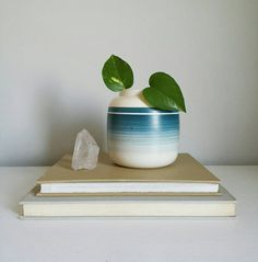 Mid Century Planter Turquoise Pottery Blue by ShopMidCenturyModest