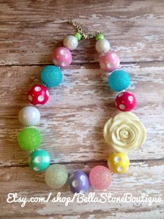 Easter rose chunky necklace RTS free ship by BellaStoneBoutique