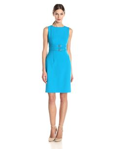 Sleeveless Double Belted Sheath Dress by Calvin Klein