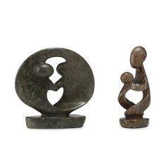 Two handcrafted stone sculptures from Shona artisans from Zimbabwe. Available as Mother  or Dancing Couple.