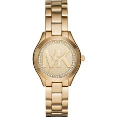 Michael Kors Mini Slim Runway Watch - Gold - Women's Watches ($195) ❤ liked on Polyvore featuring jewelry, watches, metalic, gold jewelry, gold watches, gold wrist watch, gold wristwatch and michael kors jewelry