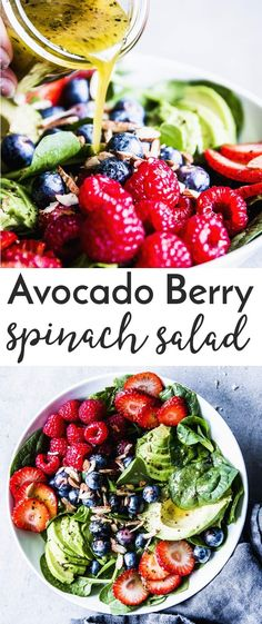 Spinach Avocado Salad with Berries is a simple but stunning salad you can whip up in no time! Have it as a side or as a healthy meal, either way it's one you'll come back to again and again. This is also perfect for special dinners like Easter! | #salad #spinachsalad #easter #spring #cleaneating #healthy #healthyrecipe #easyrecipes #recipe #summer #berries #strawberry #sidedish #realfood