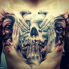 See no evil, hear no evil, speak no evil hand and skull 3D tattoo