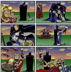 Batman 1 Thor 0 - Be Batman - Ideas of Be Batman - Batman 1 Thor 0 ! Be-troll vidéos humour actualité insolite Ms Marvel, Marvel Funny, Marvel Memes, Marvel Dc Comics, Funny Comics, Funny Batman, Asgard Marvel, Humor Batman, Batman Vs Superman