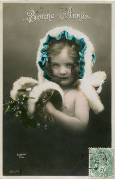 Original French vintage hand tinted real photo postcard - Girl with fur trimmed hat - Victorian Paper Ephemera.