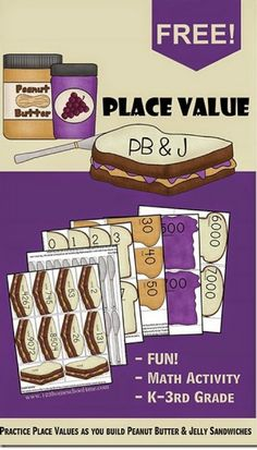 FREE Place Value PB and J Sandwiches This is such a fun clever math activity for Kindergarten grade grade and grade kids homeschool math games Kindergarten Math Activities, Homeschool Math, Math Resources, Teaching Math, Homeschooling, Teaching Ideas, Math Sites, 2nd Grade Activities, Kids Math