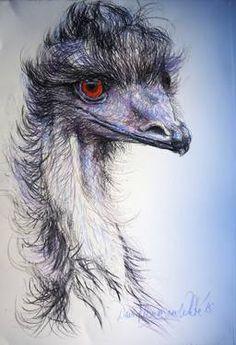 "Saatchi Art Artist David Newman-White; Drawing, """"Psychotic Emu's partner'"" #art"