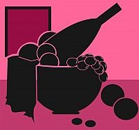 Illustration Of Silhouette Of Fruits And Wine Bottle