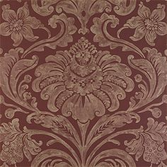Maison Damask #wallpaper in #metallic on #burgundy from the Filigree collection.