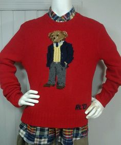 780a06e46 Vintage RALPH LAUREN POLO Executive Bear Sweater SZ L Red Hand Knit RL01  Rare
