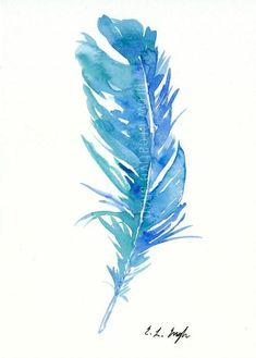 Blue Teal Bird Feather, Original Watercolor Painting, 5x7, bird, feather illustration, native