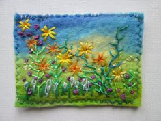 original aceo textile aceo embroidered flowers by SueForeyfibreart Felt Pictures, Felt Projects, Wet Felting, Embroidered Flowers, Brooches, Original Art, Textiles, Colours, Paintings