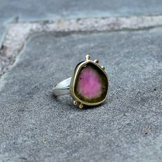 Watermelon Tourmaline Ring - Tourmaline Gold Ring - Watermelon Tourmaline Slice Ring - 18 Kt Gold Bezel Set - Raw Gem - US size 8