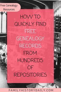 Find free genealogy records from hundreds of repositories fast with this quick how to. Wouldn't it be wonderful if there was an online research site that allowed you to easily search for records about your ancestors from repositories across Free Genealogy Records, Free Genealogy Sites, Genealogy Forms, Genealogy Chart, Genealogy Research, Family Genealogy, Ancestry Websites, Ancestry Free, Genealogy Humor