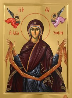 Full of Grace and Truth: Selected miracles from the Holy Zoni (Belt) of the Theotokos. Byzantine Art, Byzantine Icons, Religious Images, Religious Icons, Figueras, History Icon, Art History, Greek Icons, Blessed Mother Mary