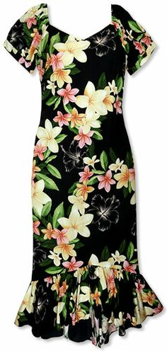 A playful display of colorful plumeria flowers found throughout Hawaii evokes happy memories of fun & laughter in this beautiful tea-length floral dress. Hawaiin Dress, Hawaiian Muumuu, Vintage Looking Dresses, Hawaiian Fashion, Island Style Clothing, Island Wear, Vestidos Vintage, Different Dresses, Dress Patterns