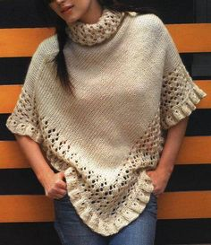 como-tejer-un-poncho-lana. Poncho Lana, Poncho Shawl, Knitted Poncho, Knitted Shawls, Crochet Shawl, Knit Crochet, Knitting Patterns, Crochet Patterns, Shawls And Wraps