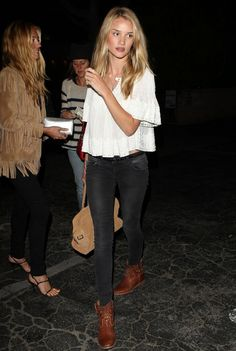 loose white crop top with wide short sleeves, black skinny jeans, leather ankle boots.