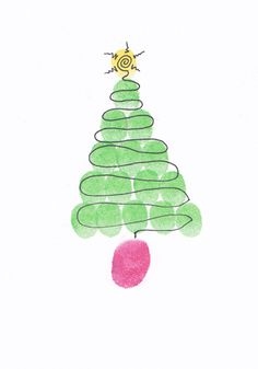Finger print tree - great for cards  #LillyHoliday