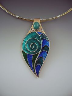Turquoise Enamel Pendant/Necklace by RedPaw