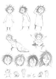 """Roughs de Bonnie, le personnage principal des """"Orphelins des Rails"""" par l'auteure Bactérie. http://www.watchcomics.com/project/les-orphelins-des-rails/"""