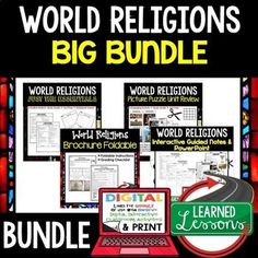 WORLD RELIGIONS BUNDLE ➤➤Religions Outline Notes, Religions Test Prep, Religions Outline, Activities, Pictures Puzzles, Biography Activities THIS IS ALSO PART OF A MEGA BUNDLES TO SAVE $$$ ➤Ancient World History MEGA BundleINCLUDED RESOURCES TO PREVIEW CLOSER