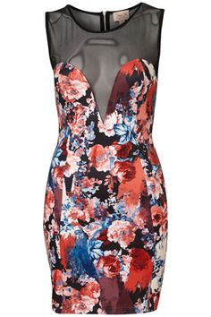 Print Mesh Panel Bodycon Dress By Dress Up Topshop**