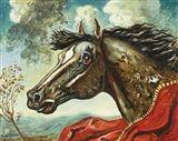 Giorgio de Chirico - TESTA DI CAVALLO, 1968, Oil...