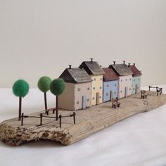 Little trees #driftwood #littlecottages #littlehouse #trees #handmade #harbour #woodencottage #benches #seaside #nautical
