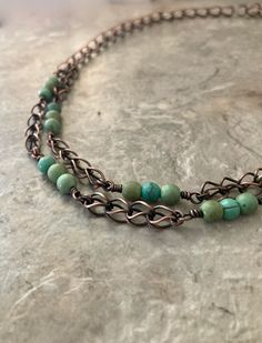 Handmade Necklaces, Handmade Items, Copper Necklace, Green Accents, Leaf Pendant, Green Turquoise, Blue Opal, Copper Wire, Metal Jewelry
