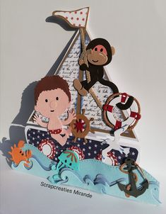 """Sailing"" masculine kids sailboat card by Jolara"
