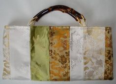 White Gold Green Silk Clutch Purse by meganmaulsby on Etsy, $89.99