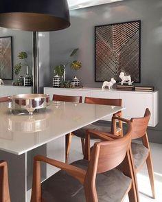 Sala de jantar elegante e contemporânea para fechar a noite {} Projeto NR Arquitetura Dining Room Paint Colors, Piece A Vivre, Elle Decor, Home Fashion, Home Interior Design, Living Room Decor, Sweet Home, Dining Table, Dinner Room Table
