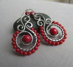 SALE 20% OFF/ Coral Earrings/ Wire Wrapped Earrings/ Red Coral Earrings/ Silver wire Earrings with Coral/ Artisan Earrings                                                                                                                                                                                 More