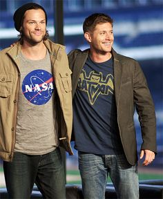 "Jared Padalecki + Jensen Ackles at Comic-Con....Is that a reference to ""I'm Batman."" I see there?"