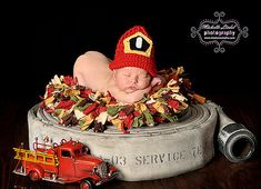 Crocheted Baby Fireman/Firewomen Hat  - Photo Prop (Size 0-3, 3-6, 6-9, 9-12 months) on Etsy, $26.99