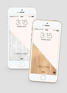 Free color block iPhone wallpapers that won't compete with your apps. Available in wood, marble, and light gray wood.