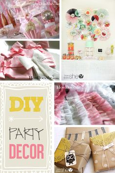 Easy and Inexpensive DIY Party Decor! Includes: Backdrop ideas, ruffled streamers, table decor, party favors, wrapping ideas, and much more!!
