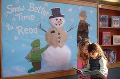 """Change read to learn-This is a wonderful winter display that highlights reading: """"Snow Better Time to Read."""" I love that the librarian used actual material to create the two children in this display. Christmas Bulletin Boards, Reading Bulletin Boards, Winter Bulletin Boards, Bulletin Board Display, Classroom Bulletin Boards, Classroom Ideas, Classroom Door, Classroom Design, School Displays"""