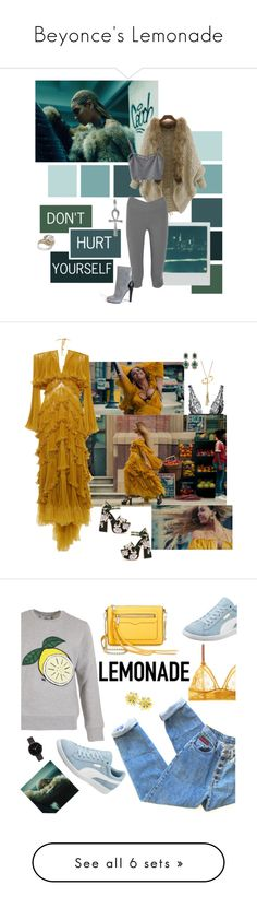 """Beyonce's Lemonade"" by polyvore-editorial ❤ liked on Polyvore featuring Beyonce, lemonade, Polaroid, WithChic, Tressa, Simon G., Yummie by Heather Thomson, Posh Girl, Roberto Cavalli and La Perla"