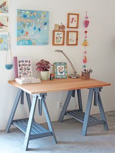 "Lovely blue painted IKEA table legs.  I have this table, and one day.... one day... it will be in my ""studio.""  (A girl can dream.)"