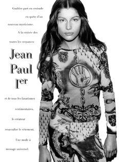 1994  - Laetitia Casta in Jean Paul Gaultier Tatoo ensemble by Mario Testino for  Glamour