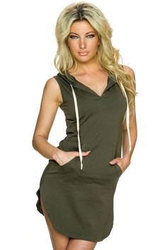 Mini Robes Olive Cotton Sweat Hoodie Robe Pas Cher www.modebuy.com @Modebuy #Modebuy #CommeMontre #sexy #me #dress