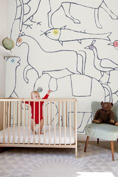 Animal Outlined Wallpaper from Minakani Walls