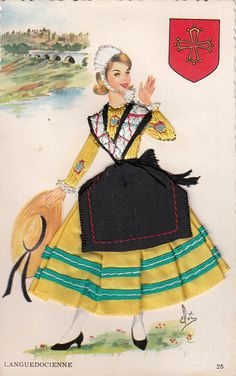 Vintage french embroidered regional costume postcard. Lady in Embroidered Dress Top and Cloth Skirt . Languedoc