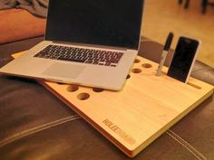 HoleeBoard Wood Laptop Desk and Phone Dock by Wudzeedotcom on Etsy, $80.00