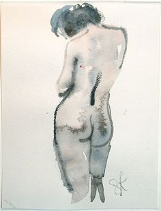 MINI NUDE 23- original watercolor painting by Gretchen Kelly